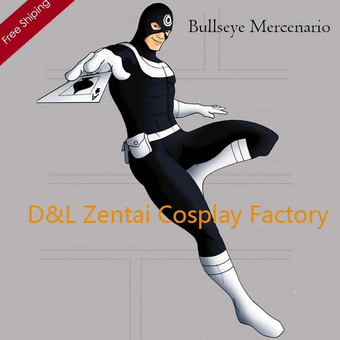 2015 Halloween Costume,Bullseye Mercenario Lycra Spandex Superhero Costume Halloween Party Cosplay FullBody Zentai Suit PG101003