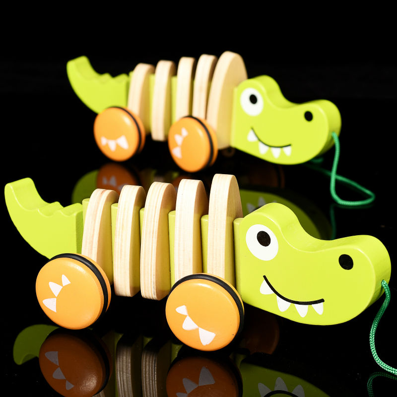 Free shipping Childrens toys drag crocodiles and dog scale models 1 to 10 years old educational ideas, walk wag its tail