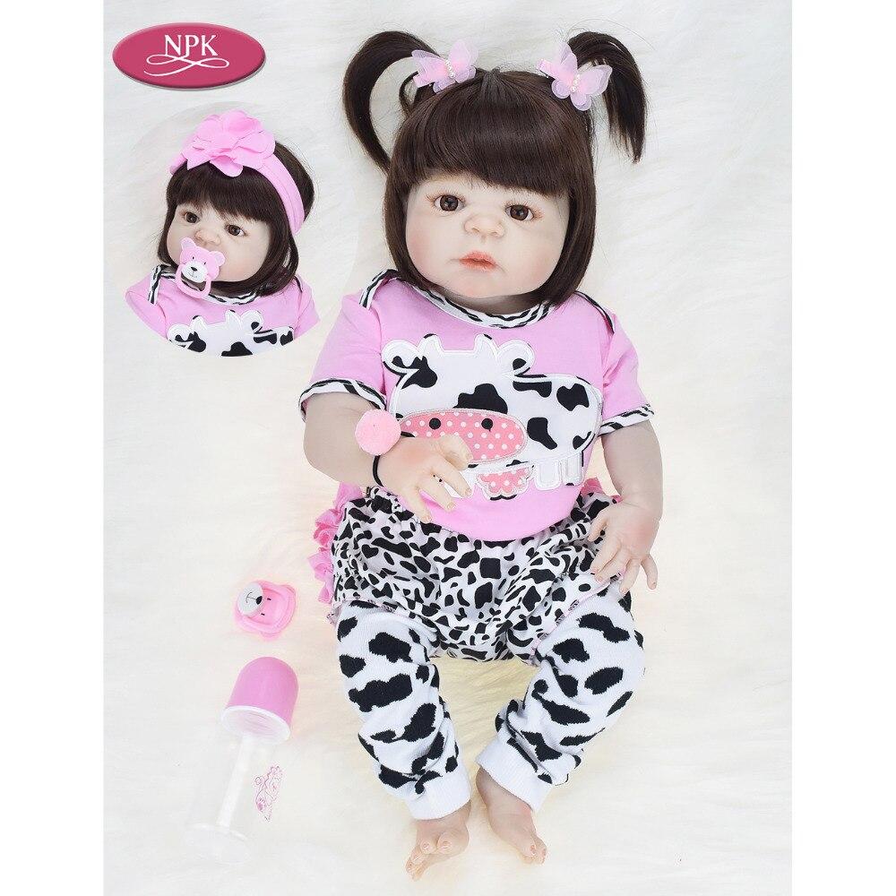 NPK Real 57CM Full Body SIlicone Girl Reborn Babies Doll Bath Toy Lifelike Newborn Princess Baby
