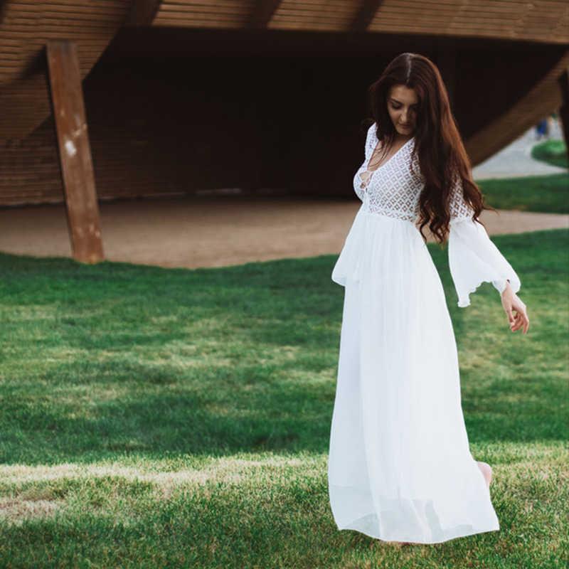 Bohoartist Sexy Đầm Tay Loe Cổ V Bên Trắng Rỗng Ren Boho Maxi Đầm Kỳ Nghỉ Sang Trọng Mùa Hè Nữ áo