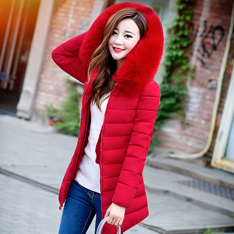 2018 Autumn Winter Jacket Women   Parkas   for Coat Fashion Female Down Jacket With a Hood Large Faux Fur Collar Winter Coat women