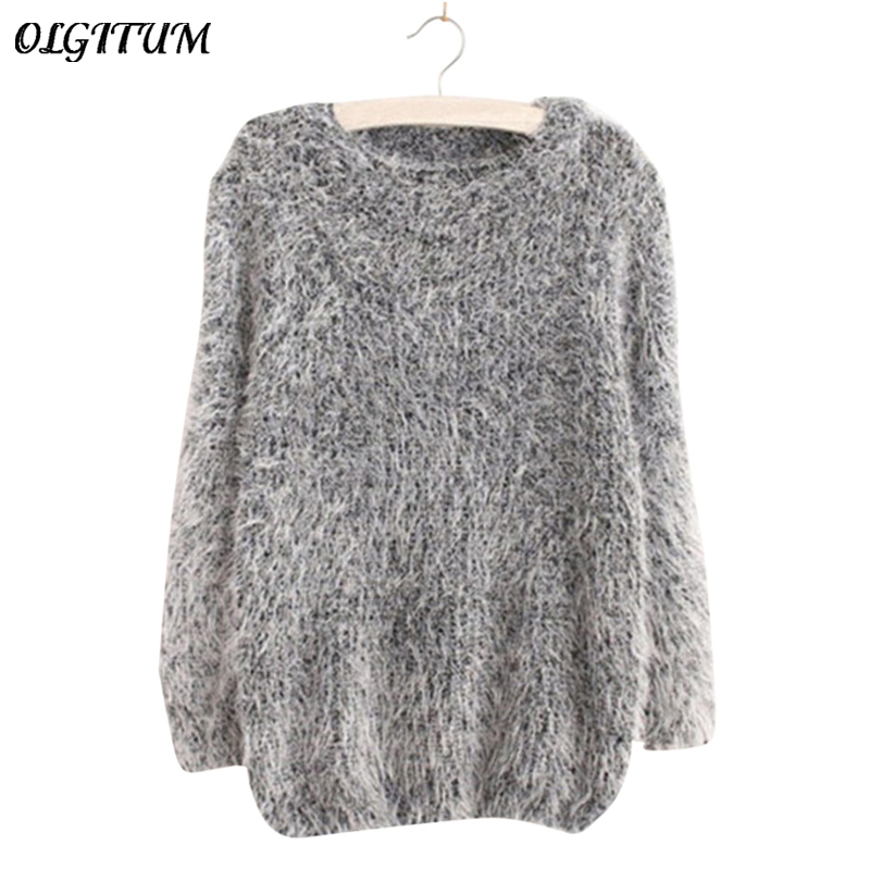women fashion autumn winter warm mohair o neck women pullover long sleeve casual loose sweater. Black Bedroom Furniture Sets. Home Design Ideas