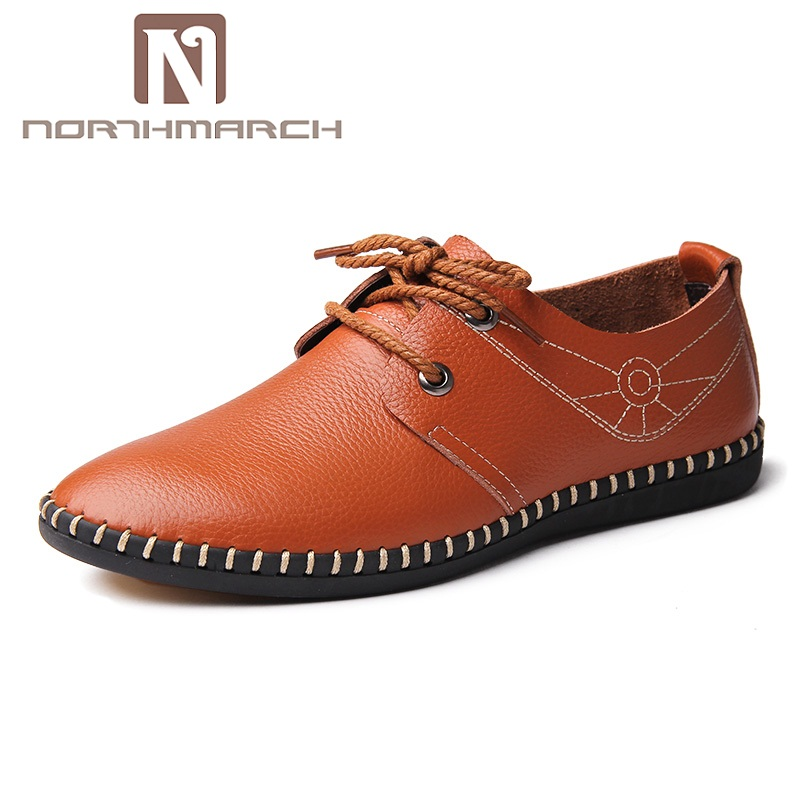 NORTHMARCH Fashion Genuine Leather Men Shoes Handmade Brand Casual Loafers Shoes Men Moccasins Flats Shoes Men Chaussure Homme недорго, оригинальная цена