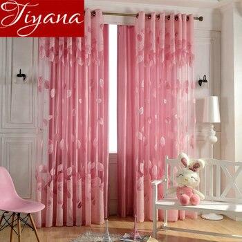 Lascia Tende Rosa Voile Burnout Modern Living Room Camera Da Letto ...