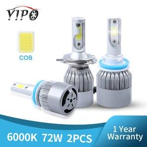Image 1 - 6000K h4 led headlight h11 h1 9012 9005 9006 hb3 hb4 H7 led COB headlamp bulb hi lo beam car bulb Externl light source 72w 12V