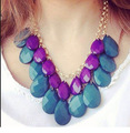 2015 New Bohemia Water Drop Statement Bib Gradient Color Acrylic Necklace Collar lady Choker Best-selling hk0073