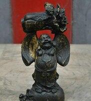 006379 9 Tibetan Buddhism Bronze Happy laughing Maitreya Buddha Sculpture Statue