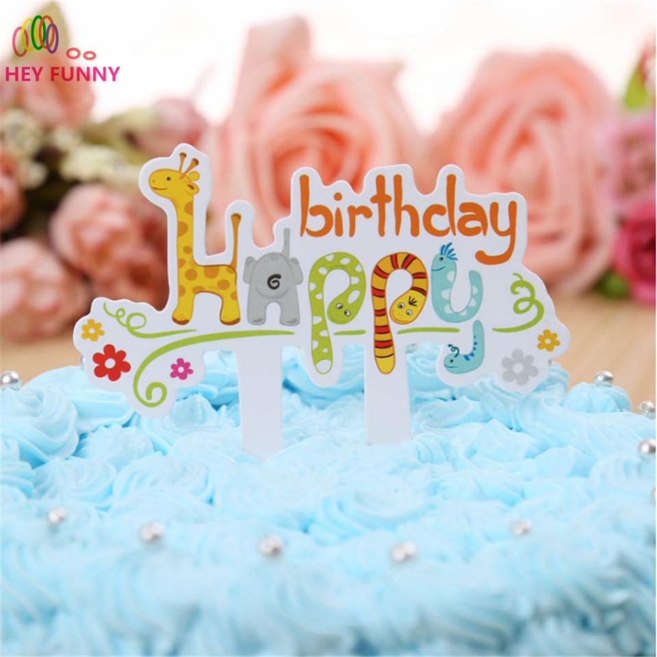 HEY FUNNY 6pcs Cartoon Giraffe Zoo animals Child Happy Birthday cupcakes toppers picks Cake insert cap wedding party Decoration