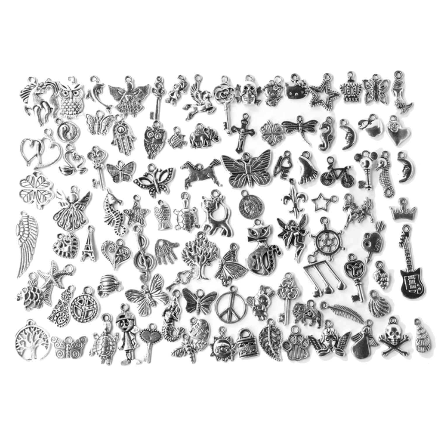 100 Styles Alloy Mixed Pendant Charms Handmade Toys Gifts For DIY Necklace Bracelet Making Crafting Dangle Keychain