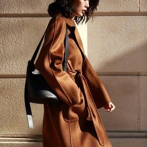 Image 2 - IRINAW901 new arrival 2020 klasyczny styl szata długi, z paskiem ręcznie podwójna obliczu płaszcz z wełny kaszmirowej kobiet