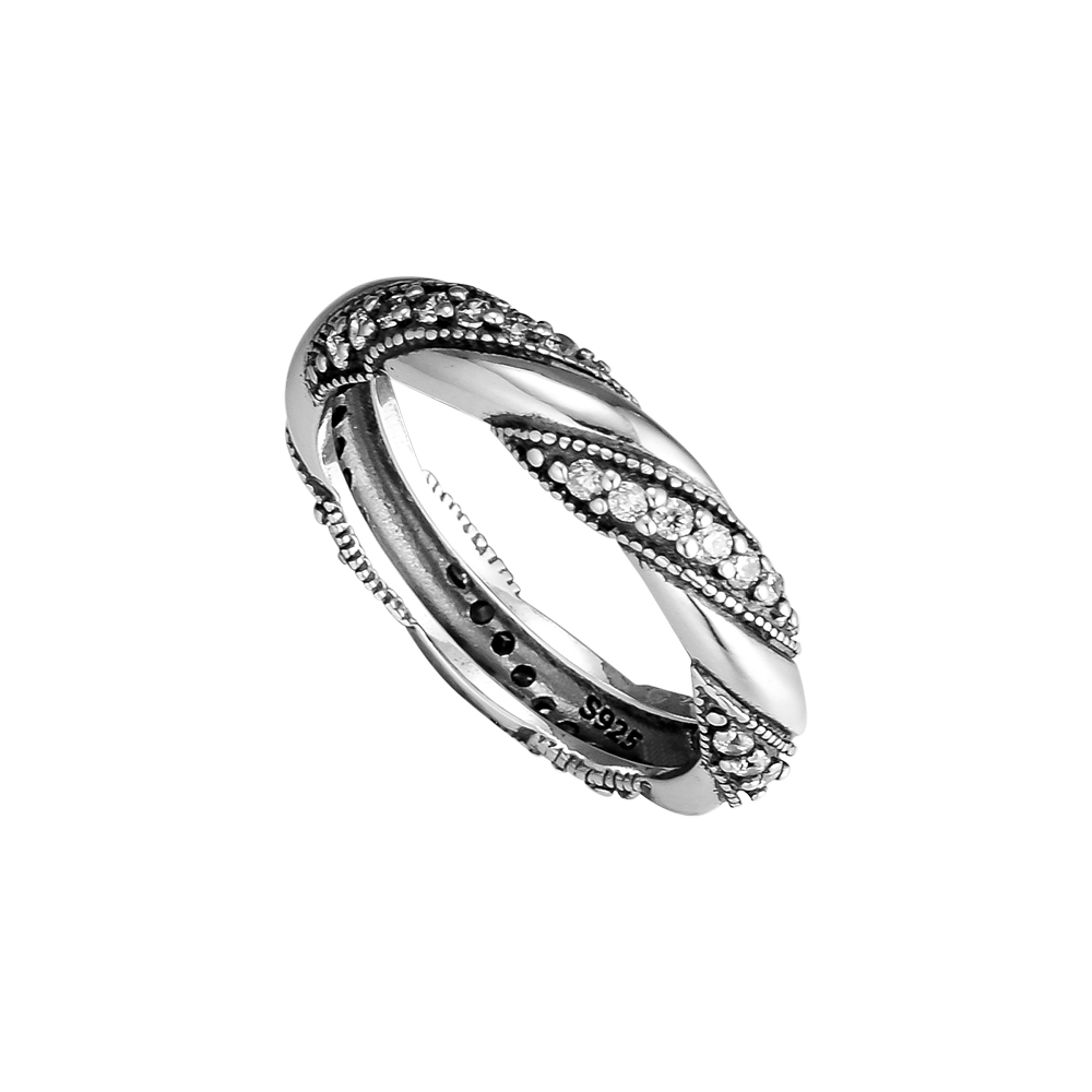 CKK Fashion Rings 100 925 Sterling Silver Jewelry Ribbon of Love Rings with Clear CZ Wholesale in Rings from Jewelry Accessories