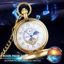 OGLE Retro Moon Phase Tourbillon 24 H Para Hombre de Señora Women Estudiante Analógico Collar Pendiente de Cadena Automático Mecánica Fob Reloj de Bolsillo