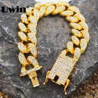 Uwin moda hiphop pesado pulseiras de luxo para homens 20mm miami cubana link ouro cor pulseira jóias completo gelo para fora strass