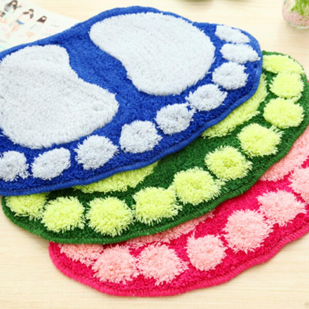 Lovely Absorbent Slip-resistant Bath Mat Feet Shape Thickening Bathroom Carpet Floor Mat Sanitary Ware Suite