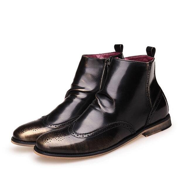Moda Hombres Tobillo botas de estilo Británico de La Vendimia Brogue zapatos Primavera Otoño Cremallera botas de Moto 022
