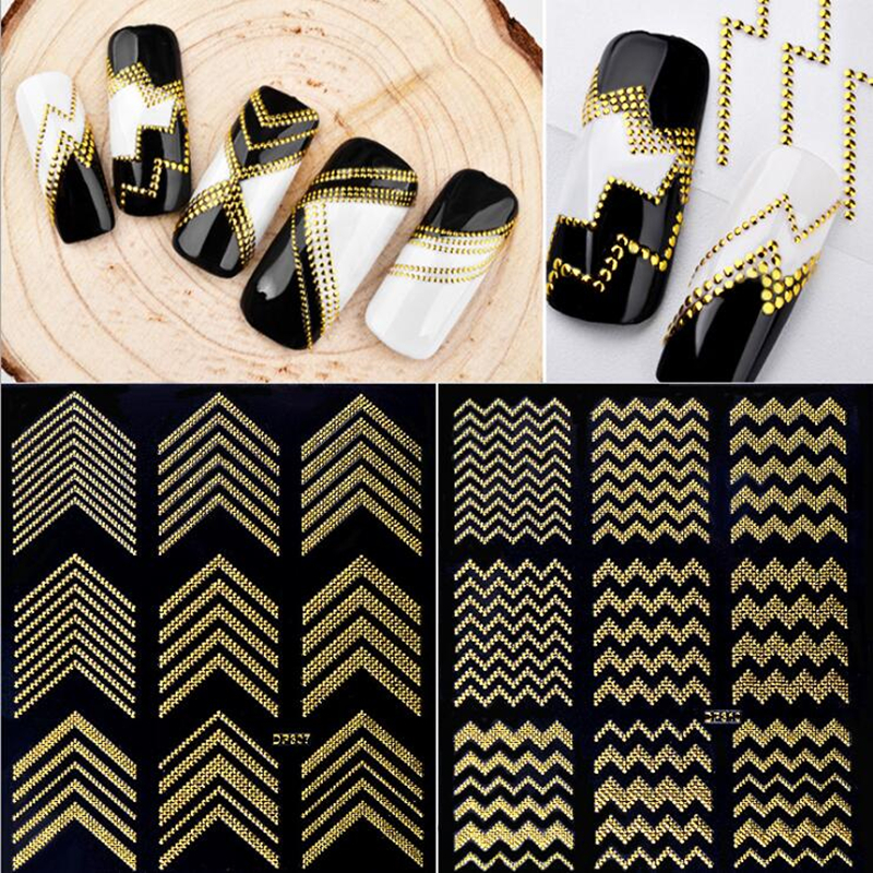 Gold Metal 3D Nail Stickers Stripes Wave Line DIY Nail Art Adhesive Manicure Transfer Sticker Water Slide Nail Tips Stickers direct continental carved 3d nail stickers nail sticker nail art stickers 3d nail stickers xf711
