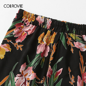 Image 4 - COLROVIE Plus Size V Neck Surplice Floral Print Blouse With Pants Women Boho Two Piece Set 2019 Summer Clothes Holiday Outfits