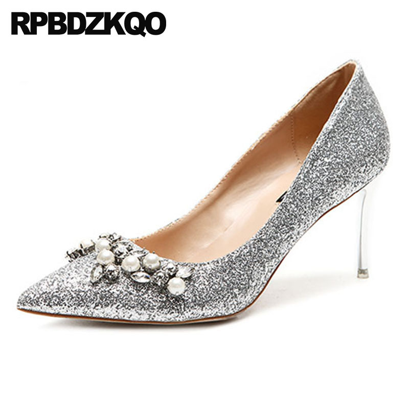Scarpin Diamond Glitter Wedding Pumps Ladies Crystal Bride Sparkling Bridal Pearl High Heels Shoes Pointed Toe Rhinestone Silver цена