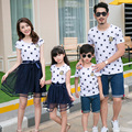 2017 summer mother daughter dresses family matching clothes mommy and me clothes father son outfits mother father baby clothing