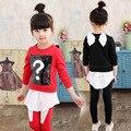 Vestido de princesa de la manera del desgaste de los niños nueva chaqueta + pantalones traje de algodón 3-7 Y niños juego de ropa de bebé ropa de las muchachas fija