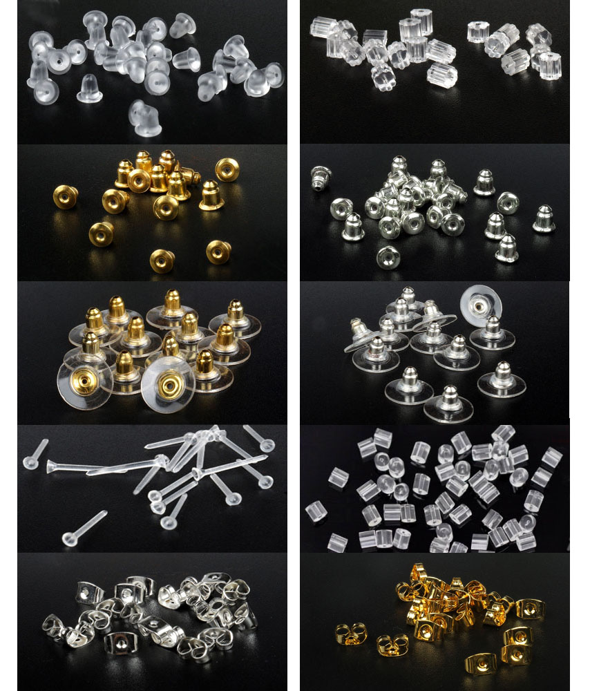 100pcs/lot Rubber Clear Earring Back Stopper Silicone Round Earring Back Stoppers Bullet Butterfly Earring Back Stoppers