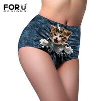 FORUDESIGNS 3D Animal Chat Culottes Femmes de Grande Hauteur Sexy Sous-Vêtements Femmes Taille Haute Culottes De Mode Sexy Lingerie Mémoires Femmes