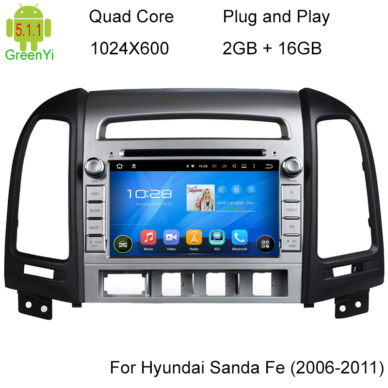 ROM 16G 1024*600 Quad Core Android 5.1.1 Fit Hyundai SANTA FE 2006 - 2010 2011 2012 Car DVD Player Navigation GPS TV 3G Radio