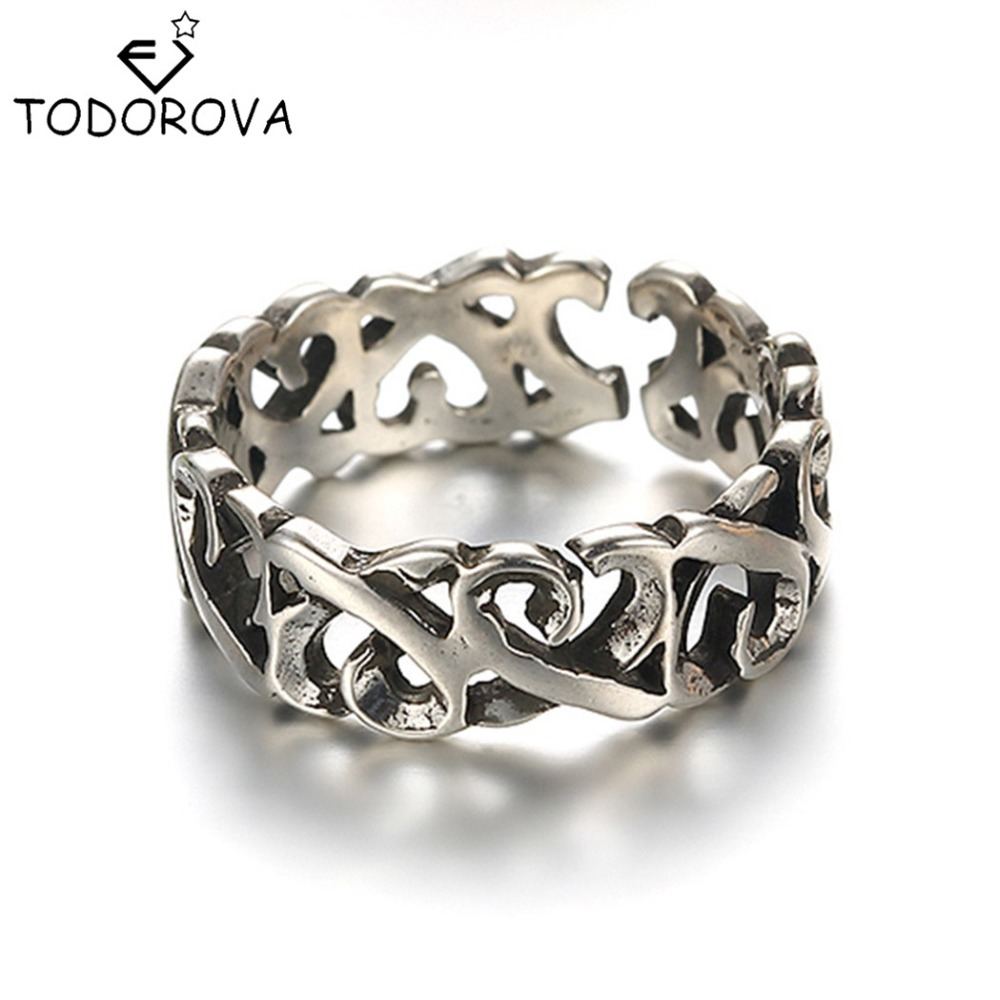 Careful Todorova Vintage 925 Sterling-silver-jewelry Twisted All-match Thick Opening Black Thai Silver Old Silver Men Women Rings