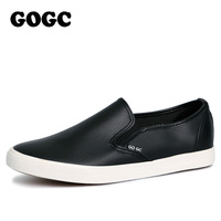 GOGC 2017 New Slipony Women Black Leather Casual Shoes Women Flats Shoes Breathable Slip On Women