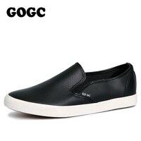 GOGC 2017 Brand New Stlye Slipony Mężczyzn Czarne Skórzane Na Co Dzień buty Mężczyźni Mieszkania Buty Oddychająca Slip on Wulkanizowane Buty Mężczyzn mokasyny