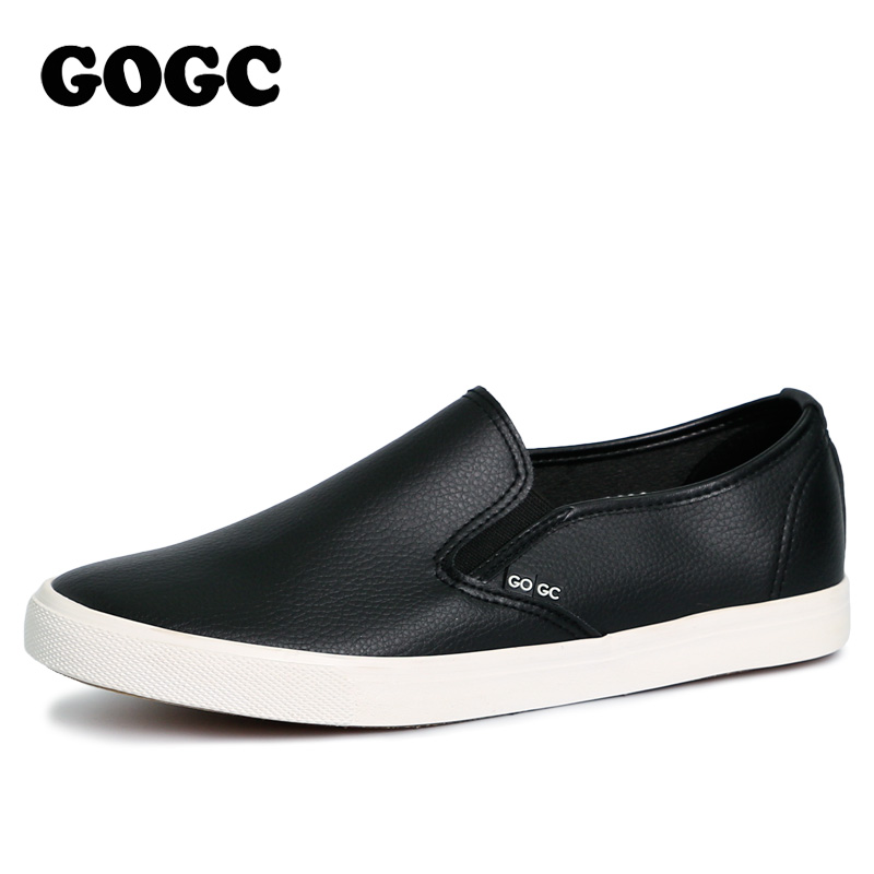 GOGC 2018 Brand New Stlye Slipony Men Black Leather Casual Shoes Men Flats Shoes Breathable Slip on Vulcanized Shoes Men Loafers yeerfa fashion women loafers canvas shoes slipony oxford flats heels breathable slip on comfortable mix colors white black shoes