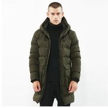 Free shipping 2017 Men's Fashion Long Parkas Hooded Solid Winter Jackets Men Cotton Casual Overcoat Streetwear Padded Man