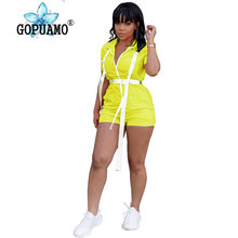 Buckle Front Zip Sexy Playsuit Women Streetwear One Piece Overalls Neon Yellow Rose Body Bodycon Shorts Rompers Jumpsuit(China)