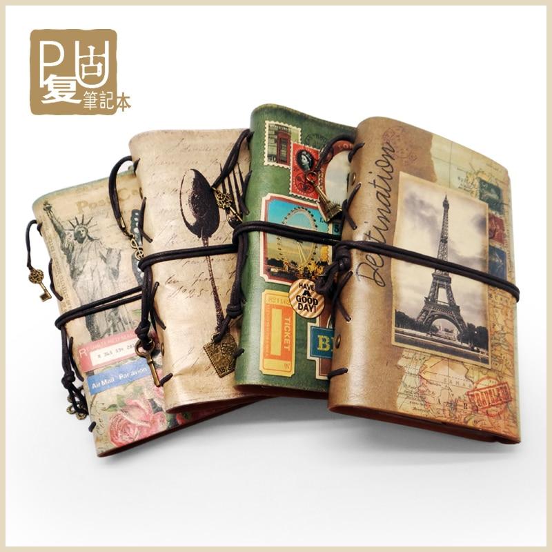 Los viajeros cuaderno creativo de cuero vintage A6 Planificador de viajes Memo diario de viaje de calendario Bloc de notas... planificador diario cuaderno