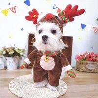 Schattige Hond Kat Kostuums X'mas Elanden Cosplay Pak Huisdier Kleding Halloween Kerst Kleding Voor Puppy Honden Kostuum voor een kat