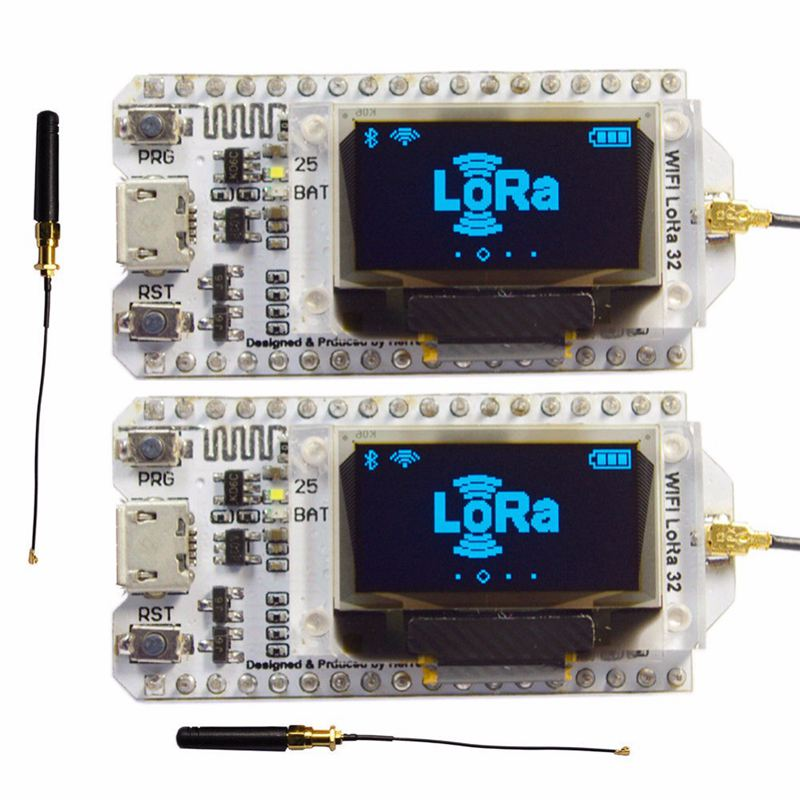2Pcs 868Mhz-915Mhz Sx1276 Esp32 Lora 0.96 Inch Blue Oled Display Bluetooth Wifi Lora Kit 32 Module Iot Development Board