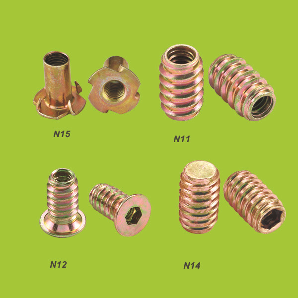 Iron/stainless steel four-prong m6 tee nuts (N1517)
