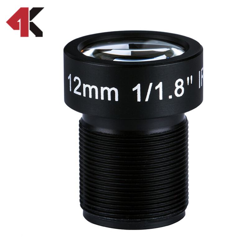 12MM Lens 1/1.8 10MP IR 34D HFOV Flat Lens for Go pro Xiaomi Yi SJCAM Camera DJI Phantom Drones Mapping Hot 3 8mm lens 1 2 3 sensor 12megapixel s mount low distortion for dji phantom 3 aerial gopro 4 camera drones
