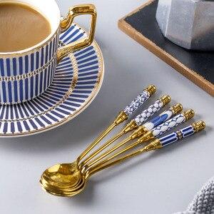 Кофейная ложка из нержавеющей стали, креативная Корейская ложка, керамический десертный ковш с длинной ручкой, ложка для перемешивания, нас...