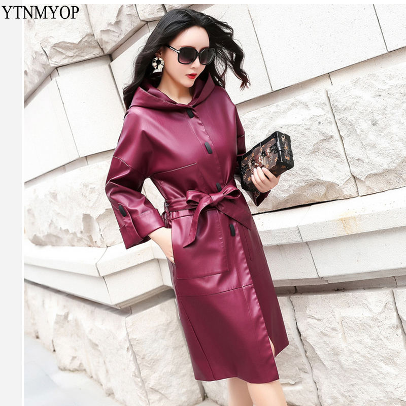 YTNMYOP Women Long   Leather   Trench 2019 Spring   Leather   Coat Female Autumn Casual Hooded   Leather   Clothing Plus Size 3XL