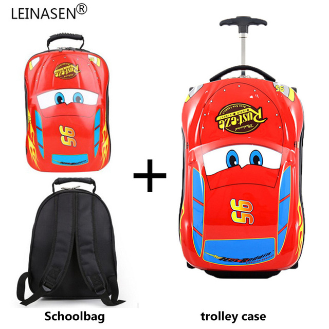 Children's Suitcase Child Trolley case Luggage Bag kids Schoolbags travel Suitcase Wheels 3D Supercar Travel case Toys for kinds