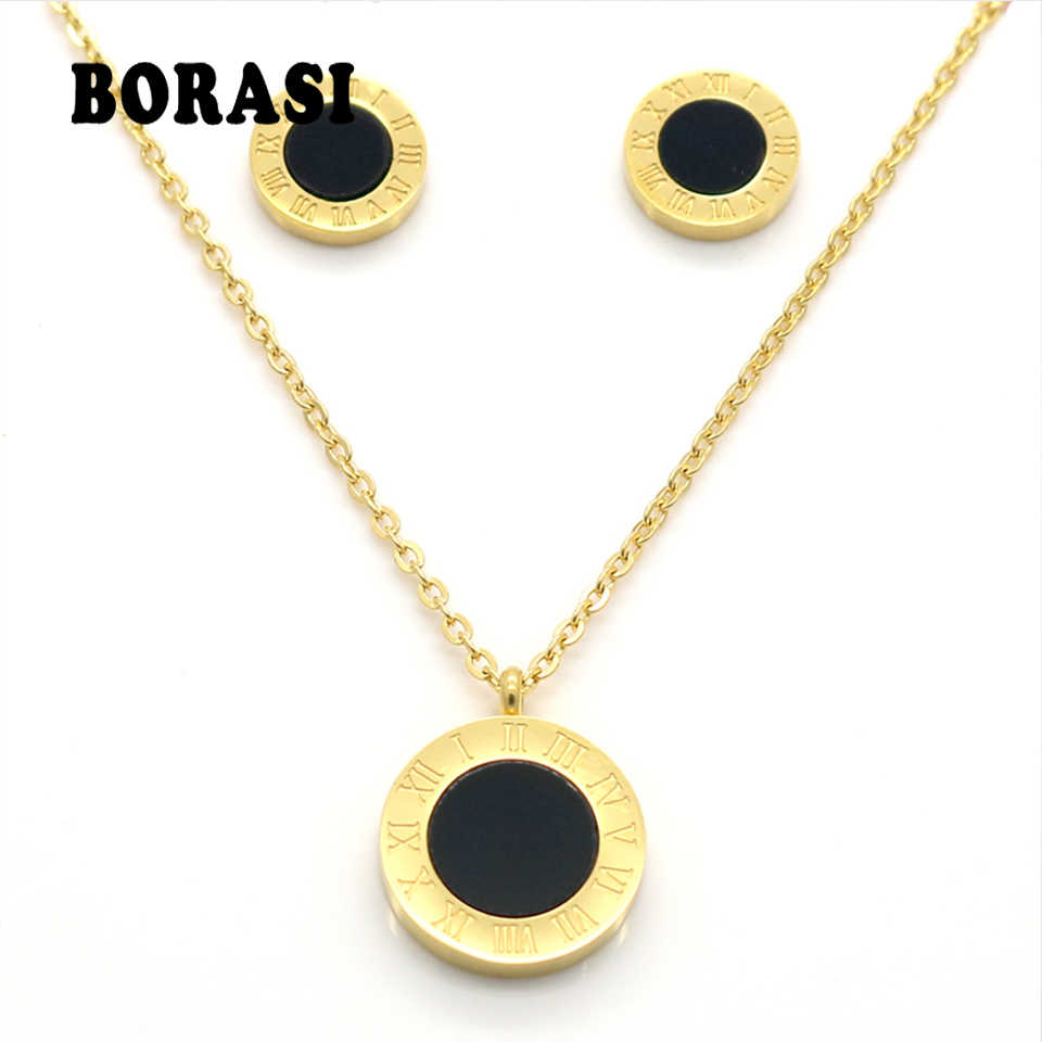 Round Pearl Shell Jewelry Roman Numerals Stylish Two Side Gold Color Pendant Necklace Earrings Fashion Wedding Jewelry Sets