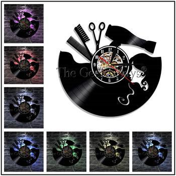 Barber Shop Vinyl Record Wall Clock Modern Design Beauty Salon Store Vintage 3D Timepiece Haircut horloge Hairdresser Gift 11