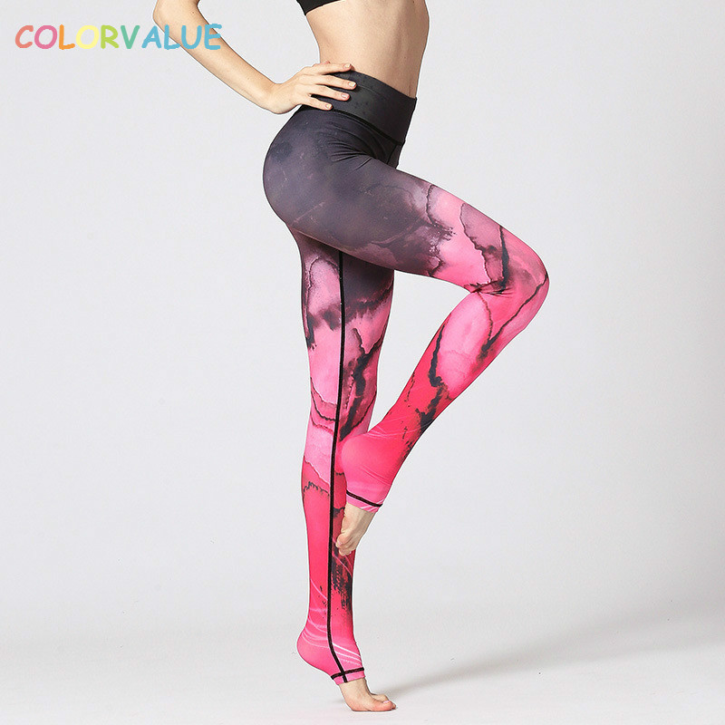 Colorvalue Pro 3D Printed Yoga Fitness Leggings Women Widen Waistband Running Gym Tights Anti-sweat Training Sport Leggings S-XL 1
