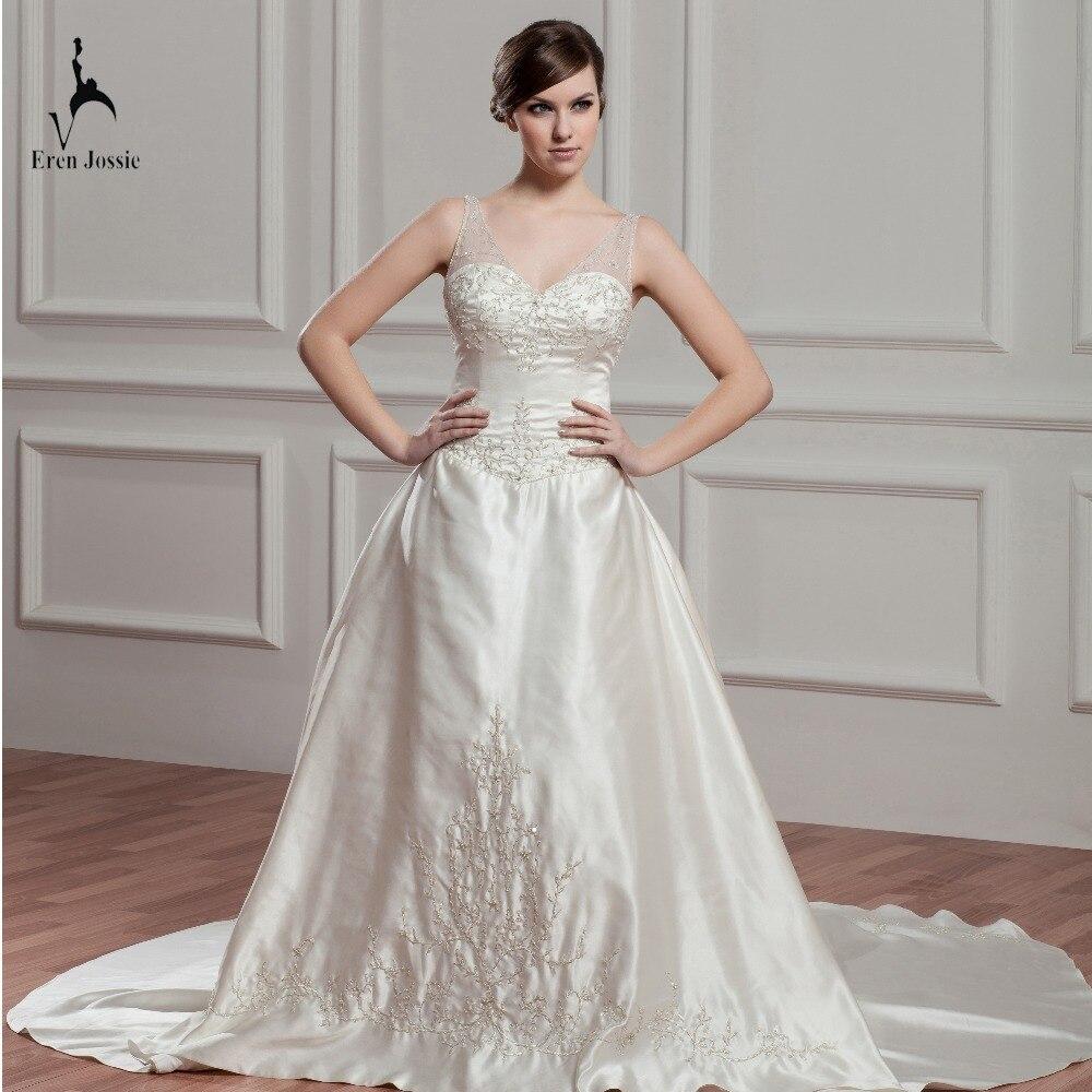 Eren Jossie 2019 Ivory Satin A Line Style Wedding Gown