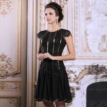 Schwarze Perlen O Neck Kurze Abendkleid 2017 Kleid Elegante