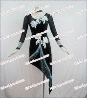 새로운 볼룸 댄스 드레스 삼바 의상. 여성 섹시한 벨벳 긴 소매 여자 아이. 탱고 살사 라틴어 댄스 드레스 어린이 L-1502