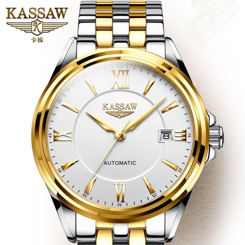 Original KASSAW hommes montres de luxe marque perpétuel calendrier Auto mécanique hommes horloge en acier saphir Relogio Masculino