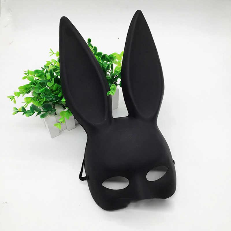 Mark Hitam Wanita Gadis Seksi Telinga Kelinci Masker Lucu Kelinci Telinga Panjang Diikat Topeng Halloween Pesta Topeng Cosplay Kostum Alat Peraga