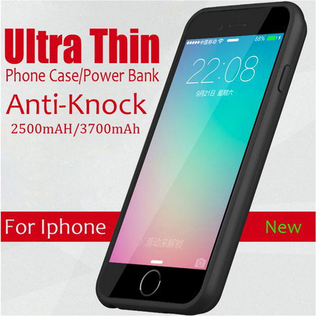 Ultra Thin Power Phone Cases For Iphone 6 6s Rechargeable External Backup Battery Case For iPhone 6 6s Plus Power Case